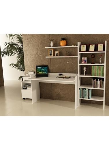 Sanal Mobilya Sirius Dolaplı Kitaplıklı 2 Raflı Çalışma Masası 120-7-Gk-6A Beyaz
